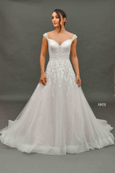 white bridal gown