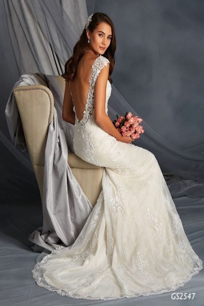 Fit and Flare Lace Gown with Low Sheer Back - Sitting down - GS 2547 - Geraldinne StySydney - Hornsby