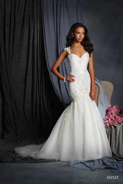 Fitted and flare mermaid illusion bidded back - GS2523 - Geraldinne Style - Sydney - Hornsby