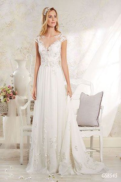 GS8545- soft net lace wedding dress with illusion yoke and sweetheart neckline - Geraldinne Style - Wedding Dress -Sydney - Hornsby
