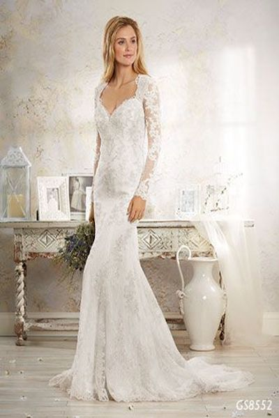 GS8552- lace fit and flare wedding dress with full sleeves and keyhole back - Geraldinne Style - Wedding Dress - Sydney - Hornsby