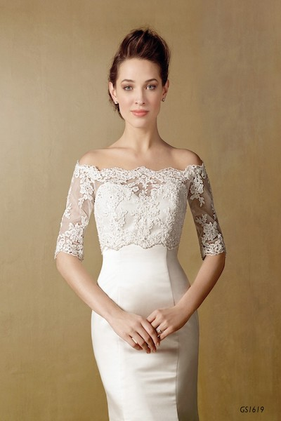 Wedding lace three quarter sleave Jacket - GS1619 - Geraldinne Style - Sydney - Hornsby