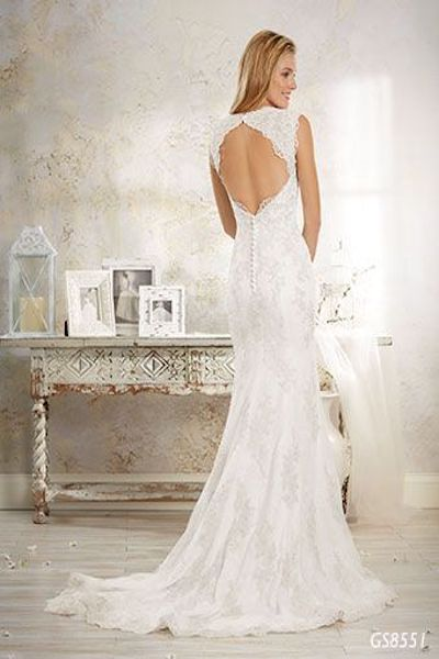 lace fit and flare wedding dress with keyhole back - GS8551 Geraldinne Style - Sydney - Hornsby - back shot