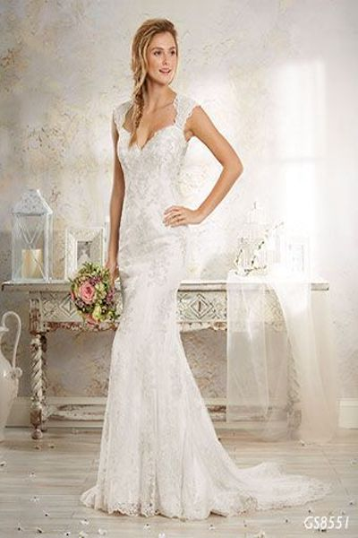 lace fit and flare wedding dress with keyhole back - GS8551 Geraldinne Style - Sydney - Hornsby