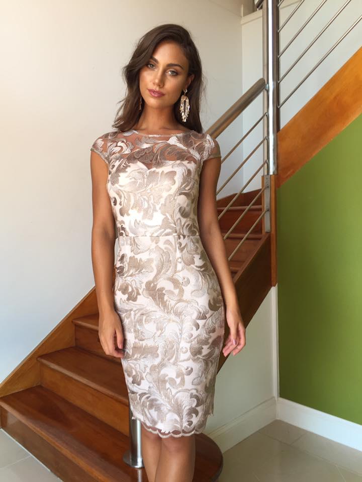 silver pink dress